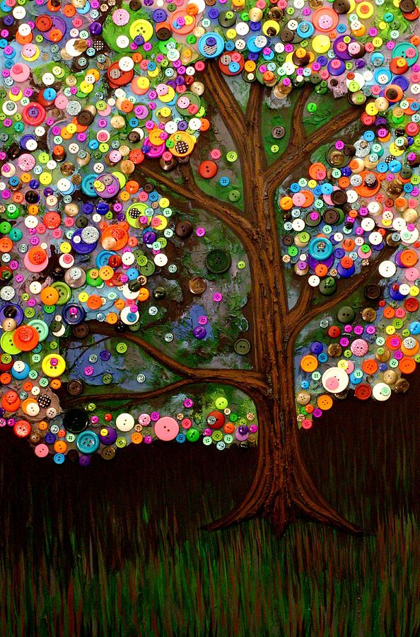 Button tree 0007 Painting  - Button tree 0007 Fine Art Print