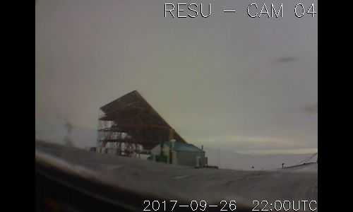 RESU -  CAM [04], located at The Resolute Bay Observatory US National Science Foundation research station, which is operated by SRI International.  The observatory is home to NSF's Resolute Bay Incoherent Scatter Radar - North (RISR-N), and the University of Calgary's RISR-C (Canada) radar. The twin radars point in opposite directions, RISR-N to the North and RISR-C to the South.     [ posted by mr. trona]