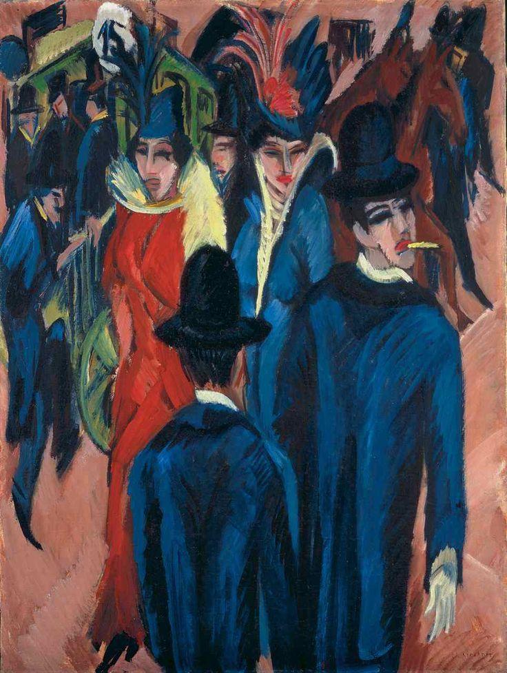 Ernst Ludwig Kirchner: Berlin Streetscene, #art, #expressionism, #German expressionism