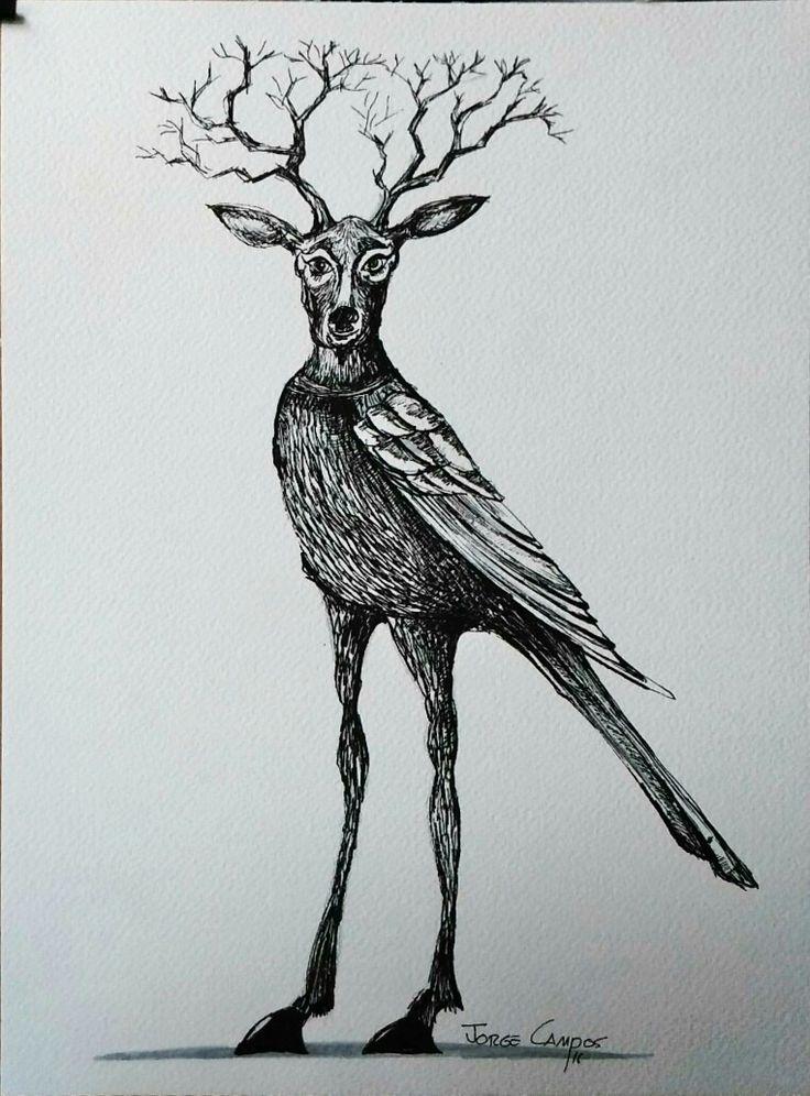 Jorge Campos Arte  Plumilla  Tinta china