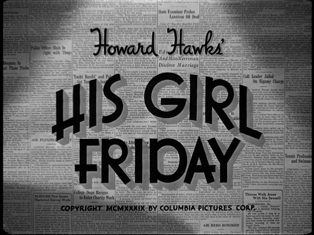His Girl Friday | Warner Bros. trailer typography