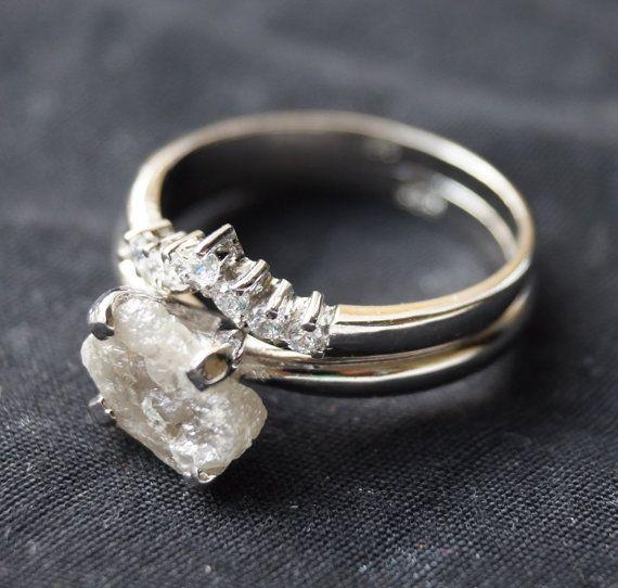 Roh-Diamant-Ring grau weiße Diamantring Diamantring von Pawnjewels