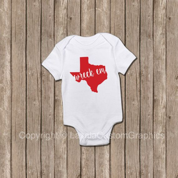 Wreck em Texas Tech Onesies by LazalaCustomGraphics on Etsy