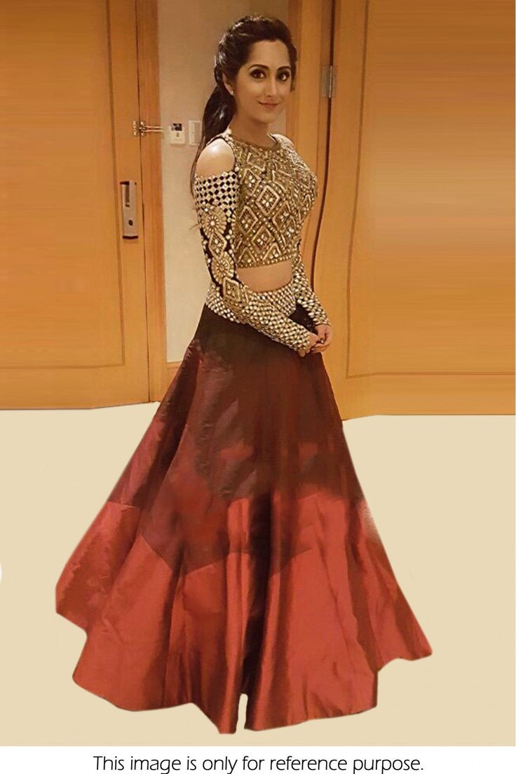 Banglori Silk Party Wear Crop Top Lehenga In Maroon Colour