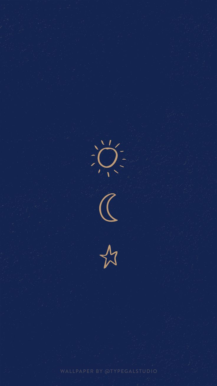 Simple Sun, Moon & Star Phone Wallpaper by Typegal.com   Iphone ...