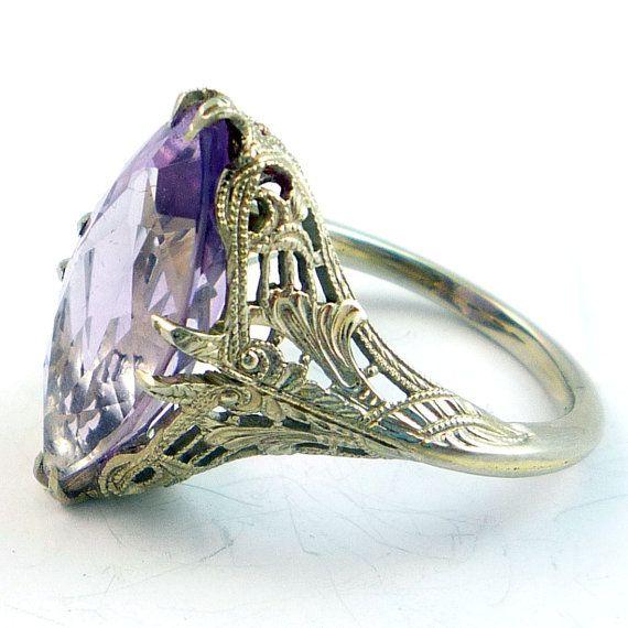 Antique Art Deco Lavender Amethyst Filigree Ring
