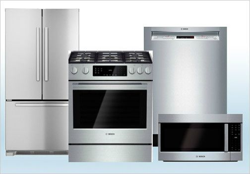 Package 4 - Bosch Builder's Special Package - 4 Piece Appliance Package - Stainless Steel - Gas