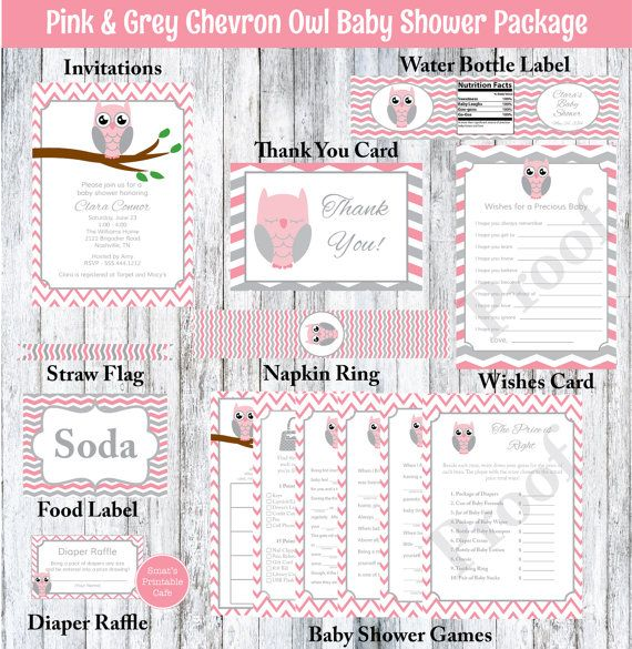 Pink & Gray Chevron Owl Baby Shower Package by SmatsPrintableCafe