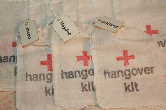 Hangover Kit Bags, DIY Hangover Bags, Personalized Name Tag, Wedding Favor Bags, Bachorlette Party, Bachelor Party