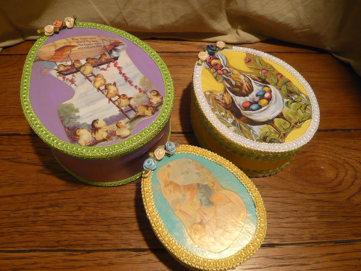 Vintage Style Paper Mache Easter Egg Boxes Each Contains Vintage Style Imaged Bottle Cap Magnets