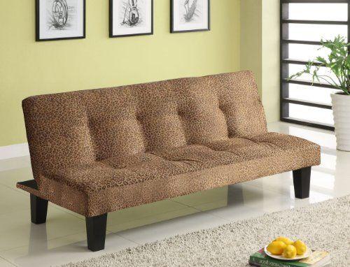 Youth Futon Sofa Bed- Leopard Microfiber