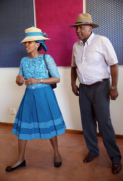 King Letsie III and Queen Letsie of Lesotho are seen during Prince Harry's official visit to Africa on November 26, 2015 in Maseru, Lesotho.