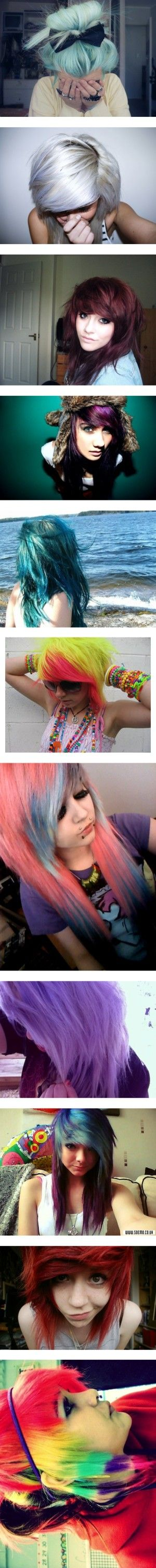 """""""Dyed Hair"""" by samanthastar ❤ liked on Polyvore The first three."""