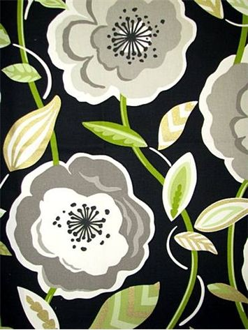 """Poppys Galore Licorice  P. Kaufmann Fabric. Multi purpose retro floral print with metalic accent. Up the roll V 25"""" H 27"""" repeat. Made in U.S.A. 54"""" wide  $14.95/yard"""