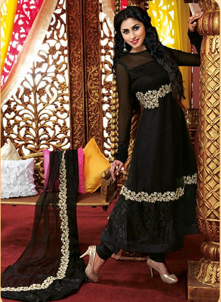 Black Faux Georgette Designer Anarkali Salwar Kameez with Matching Dupatta