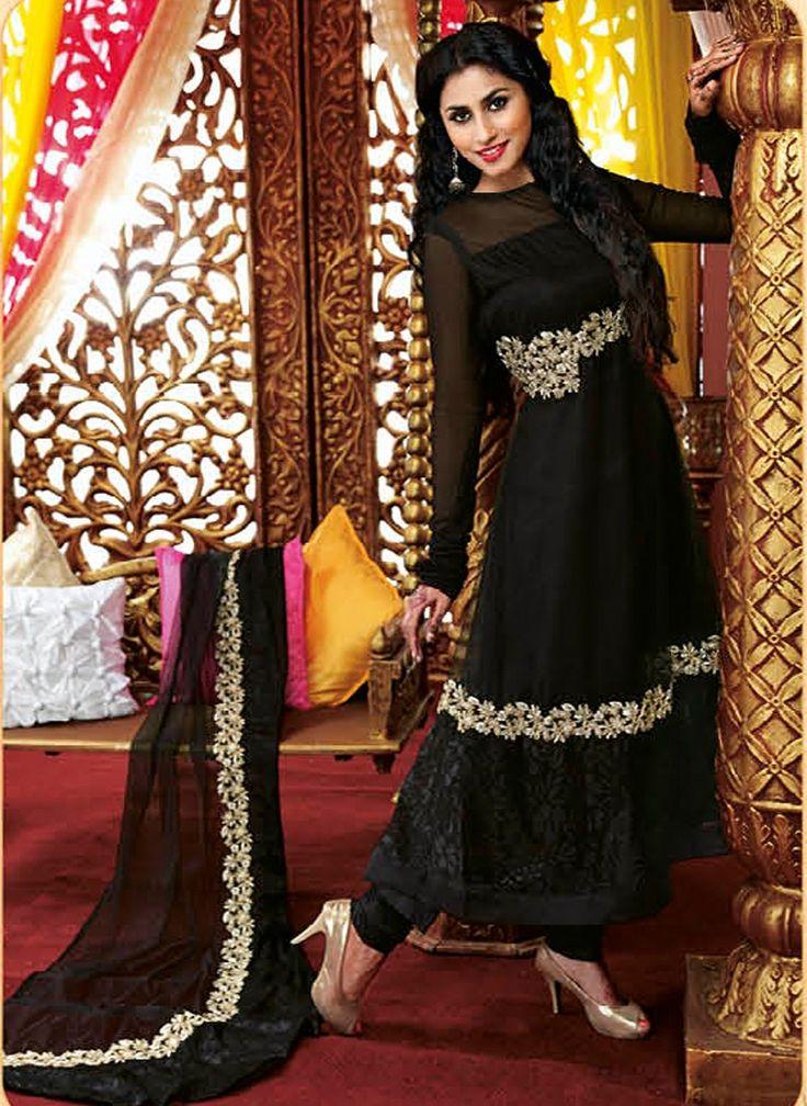 Black Faux Georgette Designer Anarkali Salwar Kameez with Matching Dupatta