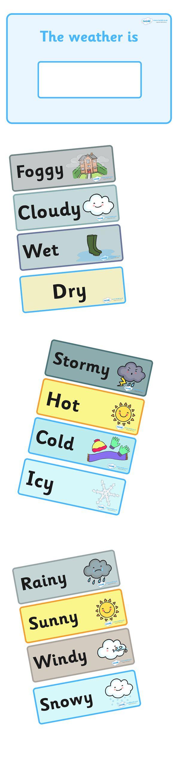 Twinkl Resources >> Weather Display  >> Classroom printables for Pre-School, Kindergarten, Primary School and beyond! editable, weather, change, interactive