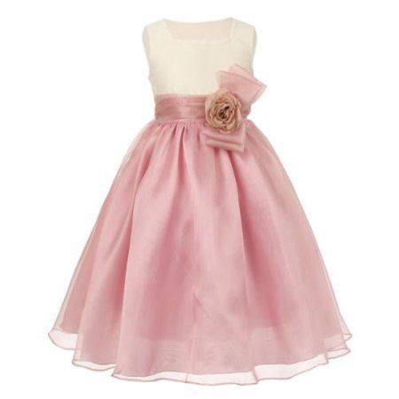 b9dd62f6241 Big Girls Ivory Rose Dupioni Organza Corsage Junior Bridesmaid Dress 10   bridesmaiddresses