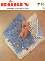 Robin 2163 baby pram blankets knitting and crochet vintage pattern