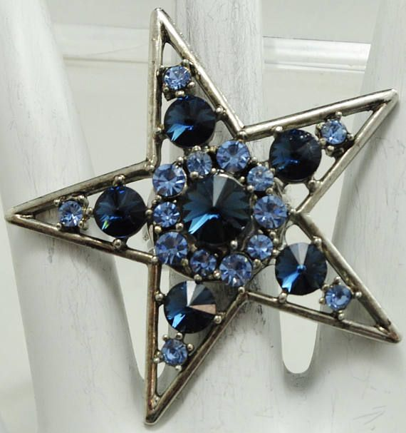 Big Star Ring/Silver/Blue/Two Tone/Rhinestone/Statement Ring/Gift For HerAdjustable/Under 20 USD