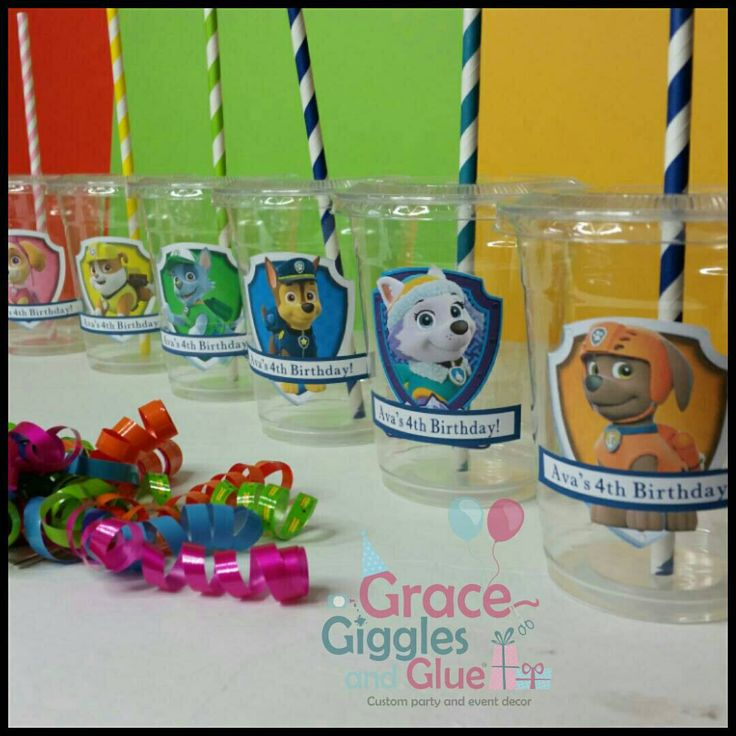 12 Paw Patrol Themed Party Cups with Striped Straws and Lids!, Paw Patrol Plastic Party Cups by GraceGigglesandGlue on Etsy https://www.etsy.com/listing/472897469/12-paw-patrol-themed-party-cups-with