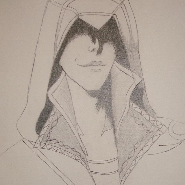 The only decent portrait I ever managed to make and even this is filled with flaws.   But still thought I'd share it with you.   #sketch #pencil #nerdy #geeky #game #gaming #ac #assassinscreed #ezioauditoredafirenze