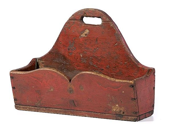 19th Century Candle Box     American, 19th century. Wooden hanging box, painted red; 11.375 x 6.25 x 14.875 in.