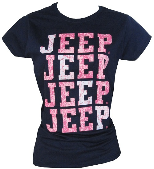 "All Things Jeep - Women's Junior Cut Navy ""Jeep®, Jeep®, Jeep® Jeep®"" Shirt"