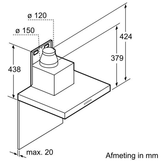 SIEMENS - LC91BA582 - Wandschouwkap, 90 cm breed Roestvrij staal met glazen scherm