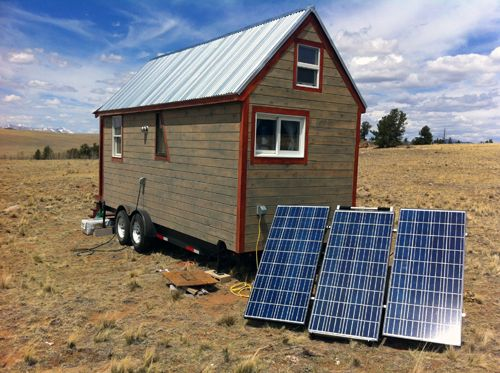 "Powering our Tiny House, The SolMan Portable Solar Generator: 40 miles from a major town, our tiny house doesn't have access to a ""grid"" of any kind. No gas lines. No power lines. No water lines or sewage system. We've had to figure out our own solutions for each of these utilities.    Park County, Colorado gets an average of 246 sunny days each year, so solar power was an obvious choice for our electric needs. (Good nitty-gritty article!)"