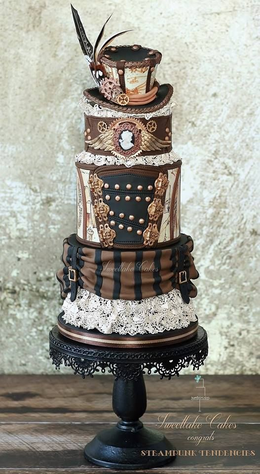 steampunktendencies:  Cakes by Sweetlake Cakes (First image: Steampunk Tendencies' Cake by Sweetlake Cakes)