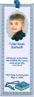 Party Favors Idea for 1st Holy Communion - Give guests a personalized photo bookmark to hold their place in their Bibles!  More communion favors and invitations at http://www.photo-party-favors.com/