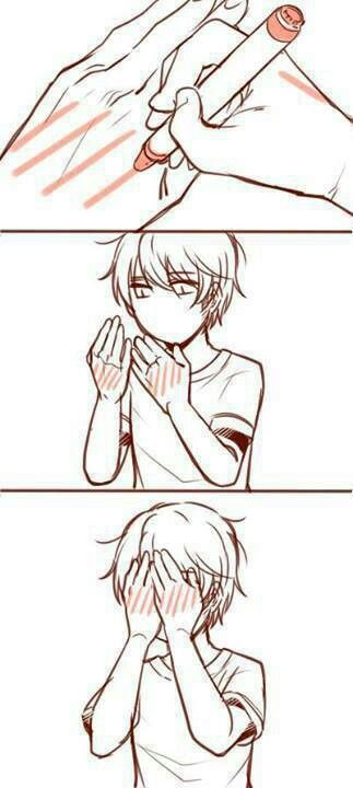 Anime Blush. Lol i love this... Imma go to school and do that. And then the next day but a bunch of vertical blue lines XD