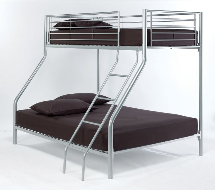 """Apollo Bunk Bed  """"2 beds are better than 1"""" and this sturdy, space saving silver finish 2 tier bed that accommodates standard single mattresses, will solve most problems apart from who bags the top bunk!!  NB – bunk cannot be split into 2 separate single beds. Overall dimensions when assembled: L2015mm x W990mm x H1700mm"""