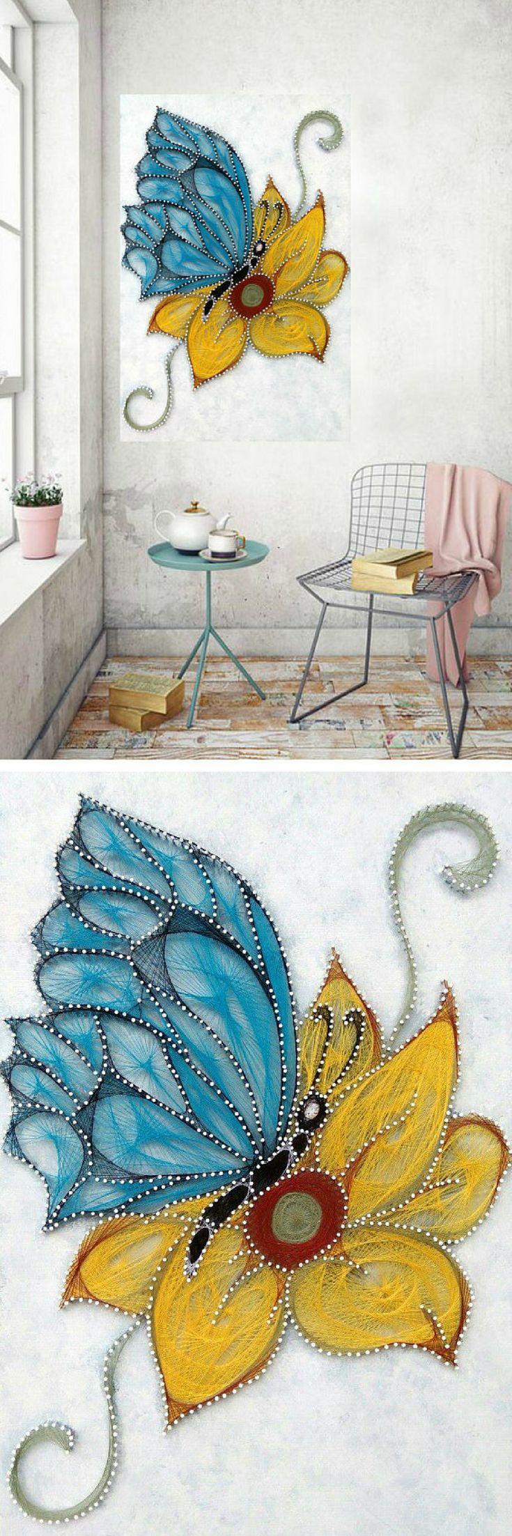 Butterfly on sunflower string art stringart ad