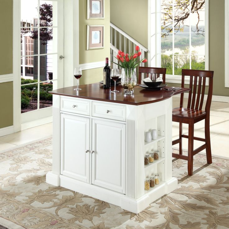 Drop Leaf Breakfast Bar Top Kitchen Island In White Finish With 24 Cherry School House