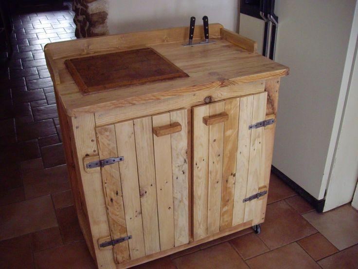 Objets d co et meubles en bois de palettes billot de boucher mont sur tabl - Table bois de palette ...