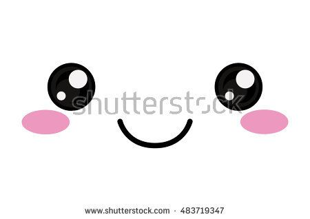 Kawaii happy face icon. Cute cartoon and character theme. Isolated design. Vector illustration