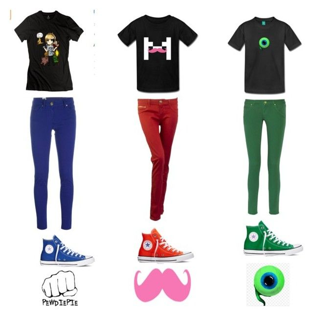 """Pewdiepie, Markiplier, Jacksepticeye"" by bleh502 ❤ liked on Polyvore featuring M Missoni, Converse, DL1961 Premium Denim, women's clothing, women, female, woman, misses, juniors and youtube"