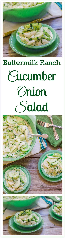 buttermilk ranch cucumber onion salad collage