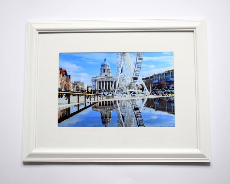 12x16 Framed Nottingham Print Wall Art, Old Market Square, Street Photography, Reflections, Architecture by ievaGallery on Etsy
