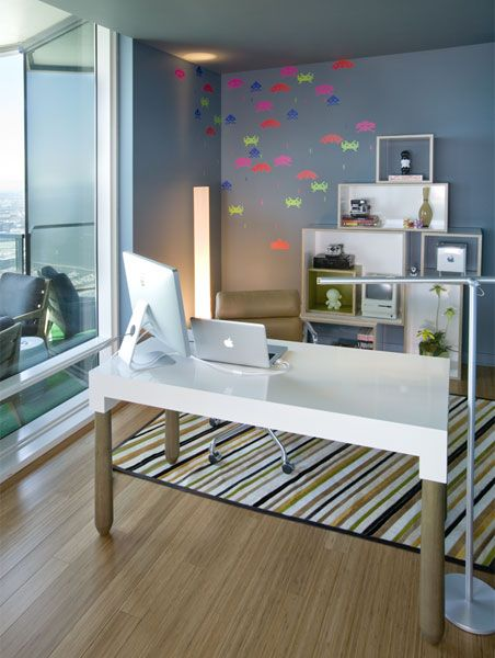 DESIGN ABOVE ALL  at One Rincon Hill in San Francisco • Photo: Rustyphoto.com		   •   RESOURCES FOR OFFICE & BALCONY:  Paint - Providence Blue #1636 from Benjamin Moore  Moremi Desk - Jiun Ho from JaK Home  Custom Bookcase - Godar Furniture  Indira Hair on Hide Rug - Stark C