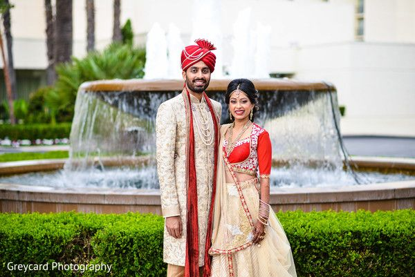 Beautiful red and gold bridal lengha http://www.maharaniweddings.com/gallery/photo/107297 @MarriottNB/newport-beach-marriott-hotel-spa-weddings
