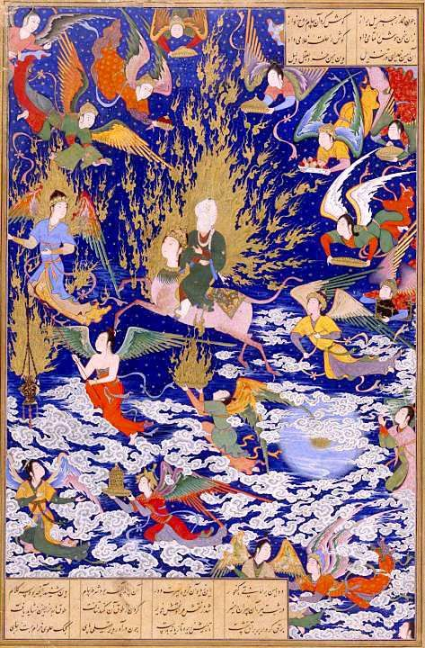 """Persian miniature from the mid-1500s depicting Mohammed ascending to Paradise astride the miraculous horse Buraq, surrounded by angels. In Islamic lore, this event is called the """"Miraj,"""" or the Night Journey. From a miniature made to illustrate a copy of the poems of Nizami, called Nizami's Khamsa (Five Poems). Tabriz, Persia, 1539-43."""