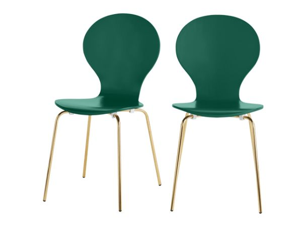 2 x Kitsch Dining Chairs, Racing Green and Brass