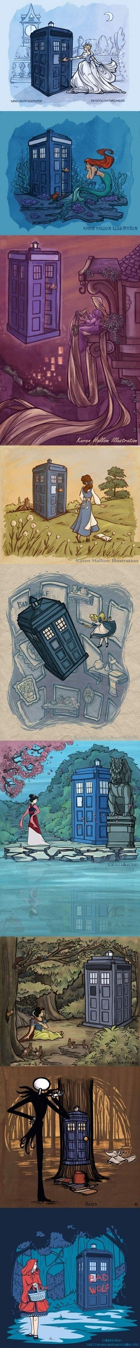 Doctor Who gets around...using Disney Princesses as his new companions | Very nice mash here.