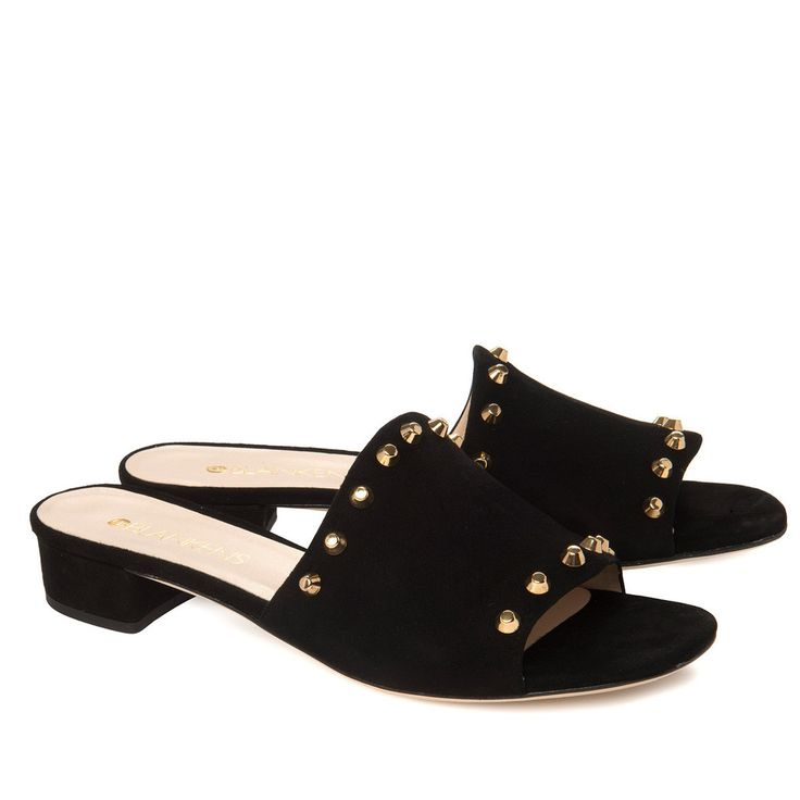 """""""The Jonna"""" is a super cool slip in-sandal in black suende and gold studs. Go get them at blankens.com"""