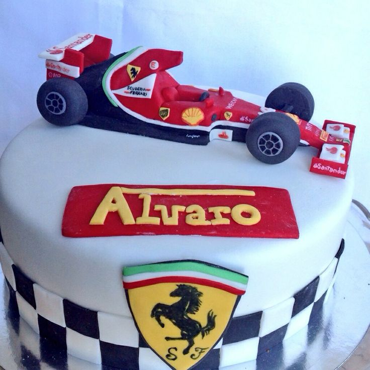 Ferrari fondant cake. Fernando Alonso ferrari