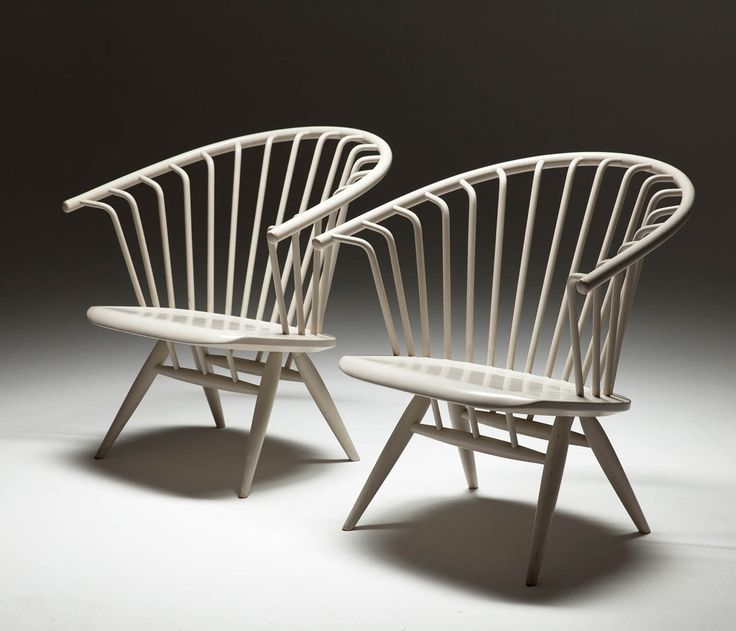 Set of 2 White 'Crinolette' chair by Ilmari Tapiovaara | From a unique collection of antique and modern club chairs at http://www.1stdibs.com/furniture/seating/club-chairs/