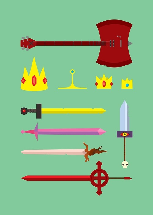 I want them(: i can name them all;  Marcelines Axe Bass The ice King and Queens crowns Princess bubblegum and Prince Gumballs crowns Fionna and finns sword